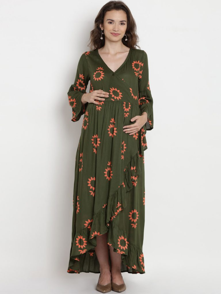 Green Printed Maxi Pregnant Outfit
